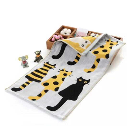 Yellow Cat Hand Towel