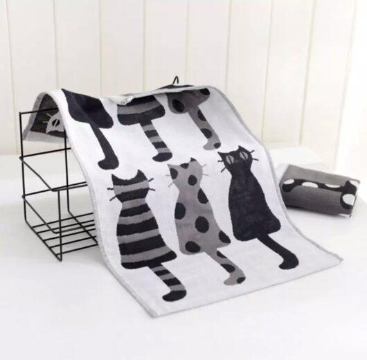 Cat Hand Towel - Grey
